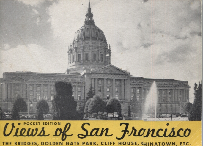 Souvenir View Book of San Francisco, Containing a selection of reproductions of interesting subjects from photographs taken by the Gabriel Moulin Studios, famous California photographers, and including a Bird's-Eye-View of the Entire Bay Area from an original drawing by E. A. Burbank. Pocket Edition. Gabriel Moulin Studios.