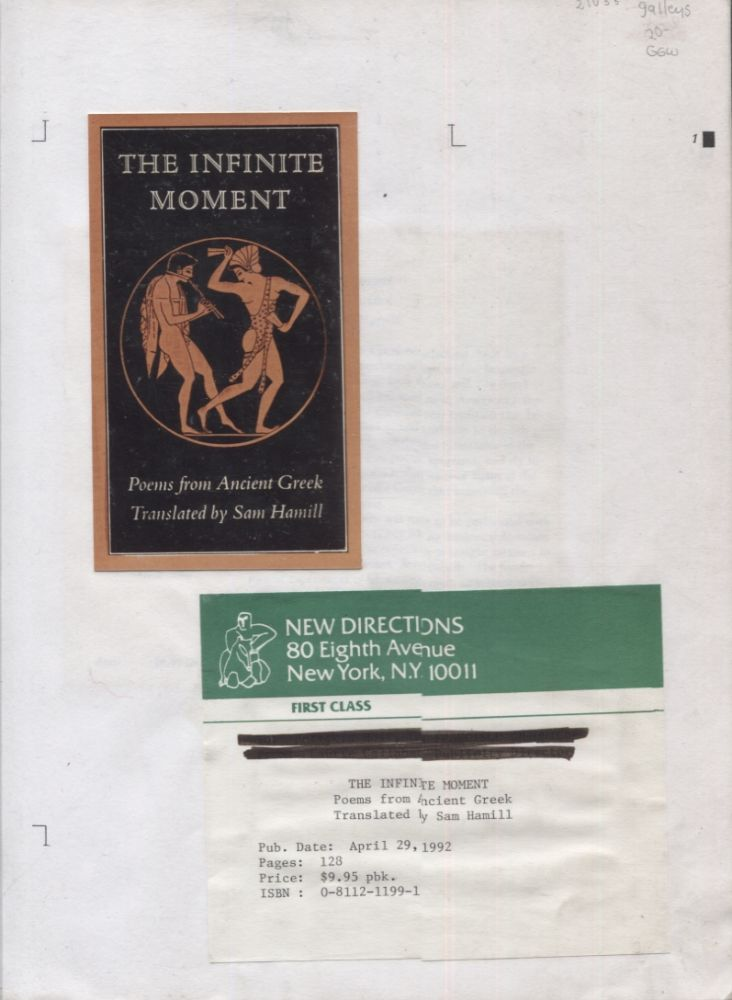The Infinite Moment; Poems from the Ancient Greek. Sam Hamill.