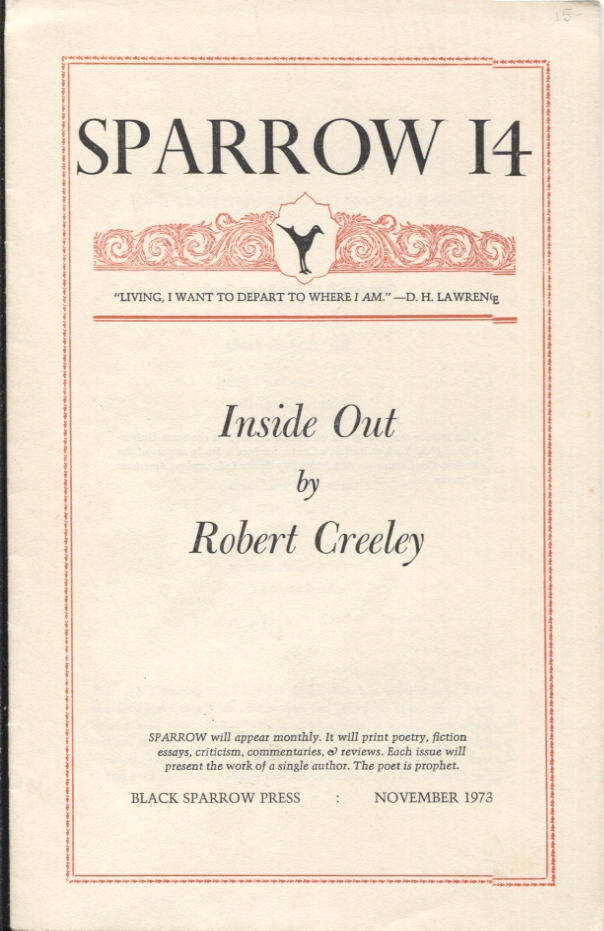 INSIDE OUT; SPARROW 14. Robert Creeley.